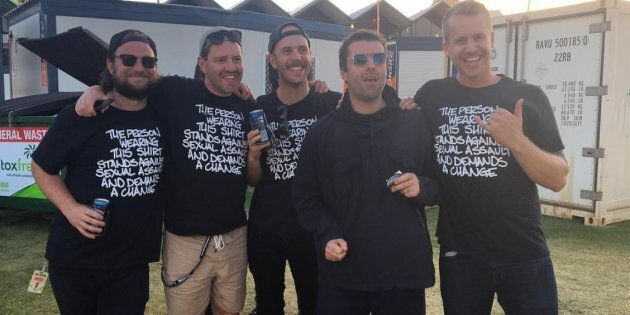 Tasmanian band Luca Brasi, with Noel Gallagher, wearing the Camp Cope