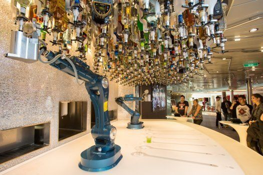 Shaken or stired? A robotic arm can mix drinks a the bar on board Ovation of the
