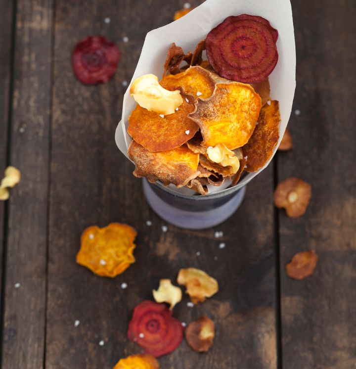 Try the veggie chip variety with sweet potato, beetroot and carrot.