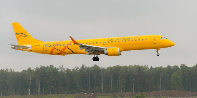 Moscow, Russia - May 19, 2016: Embraer 195LR ERJ-190-200LR Saratov airlines landing at Domodedovo International airport.