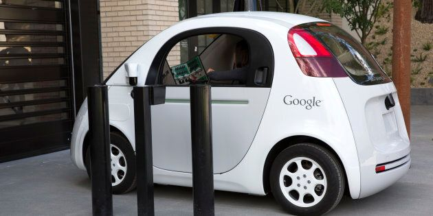 Google's self driving car enters the Google X Headquarters