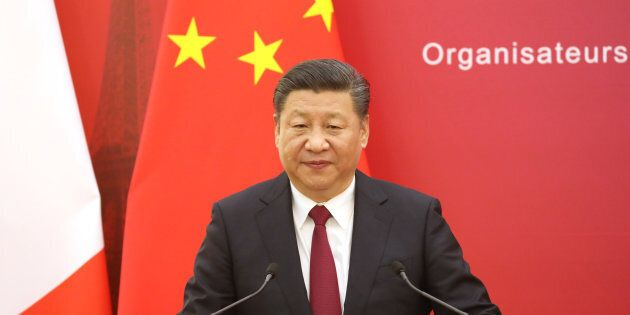 Chinese President Xi Jinping speaks during the first meeting of the French-Chinese business council in...