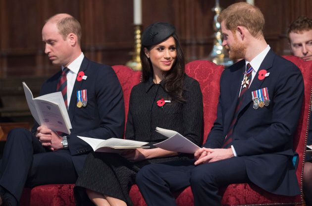 Prince William, Meghan Markle and Prince Harry attend an Anzac Day service at Westminster Abbey on April 25, 2018 in London.