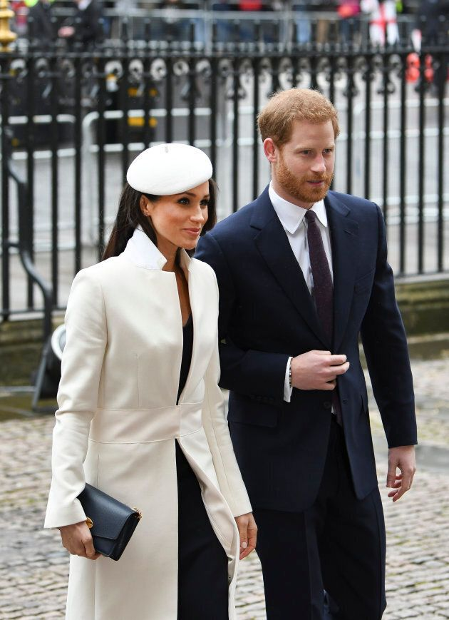 Meghan Markle and Prince Harry arrive for the 2018 Commonwealth Day service at Westminster Abbey, on March 12, 2018 in London.
