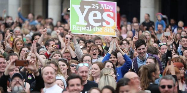 Yes campaigners celebrate as the results are announced in the referendum on the 8th Amendment of the Irish Constitution which prohibits abortions unless a mother's life is in danger.