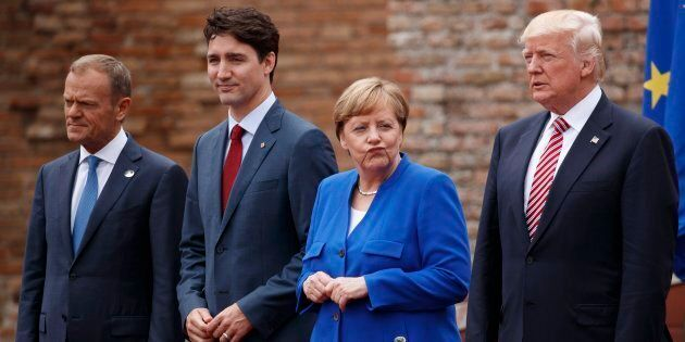 Leaders of the G7, from left, European Council President Donald Tusk, Prime Minister Justin Trudeau,...
