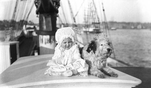 Check out the 1900s baby fashion. As for the dog, his coat doesn't