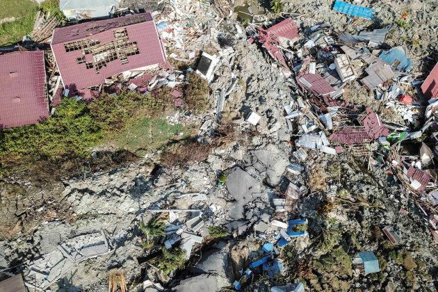 An aerial view of Petobo sub-district following an earthquake in Palu, Central Sulawesi, Indonesia, October...