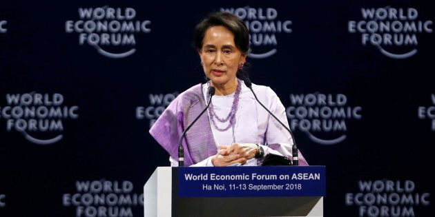 Myanmar State Counsellor Aung San Suu Kyi speaks at the plenary session of the World Economic Forum on...