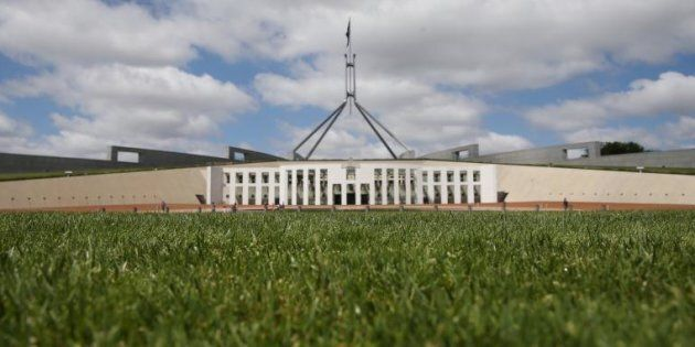 The grass in front of Parliament House in