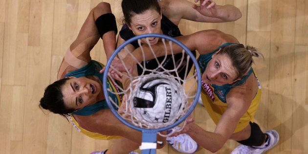 Sharni Layton (L) of Australia, Baily Mes of New Zealand and Clare McMeniman of Australia during the...