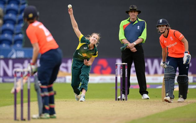 Ellyse Perry bowling against England in Cardiff,