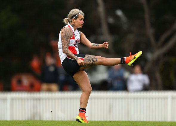 This was Hope playing for St Kilda in September. She'll line up for Collingwood in the new AFLW. But...