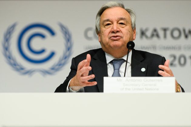 KATOWICE, POLAND - 2018/12/03: Antonio Guterres, UN Secretary General seen speaking at a press conference during the COP24 UN Climate Change Conference 2018.