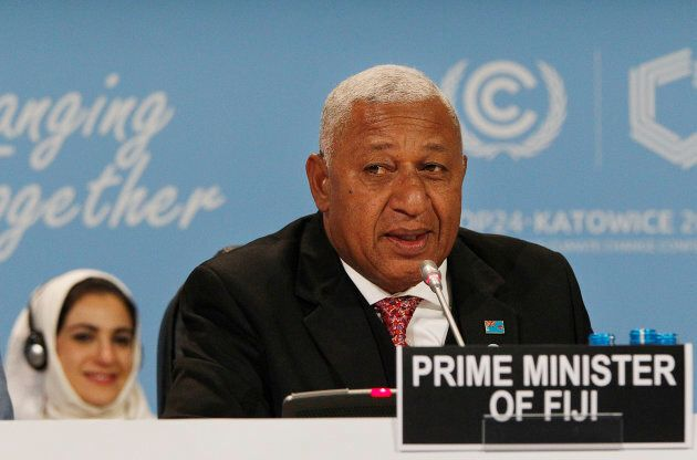 Prime Minister of Fiji, Frank Bainimarama, addresses representatives of almost 200 nations during a ceremonial...