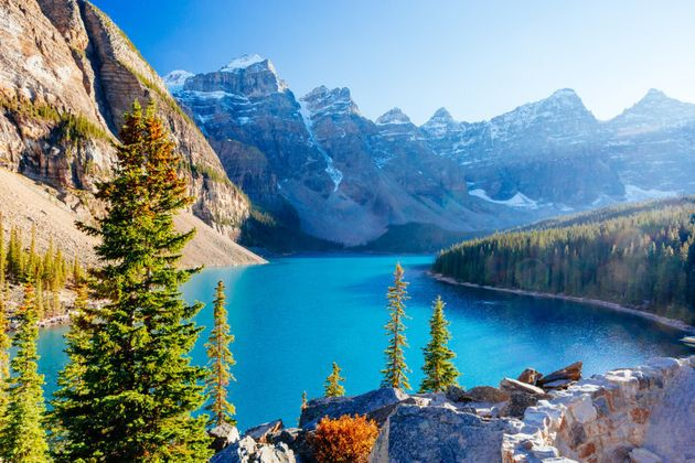 This glacially-fed lake in Banff National Park is 14 km outside of Alberta,