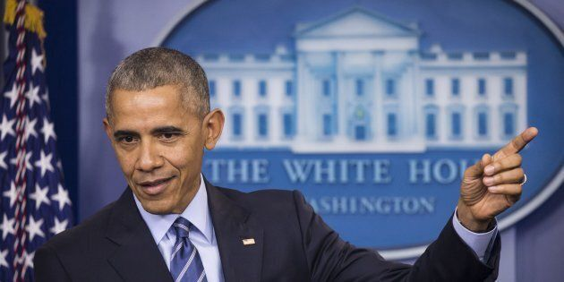 WASHINGTON, USA - DECEMBER 16: U.S. President Barack Obama speaks during his annual end-of-year news...