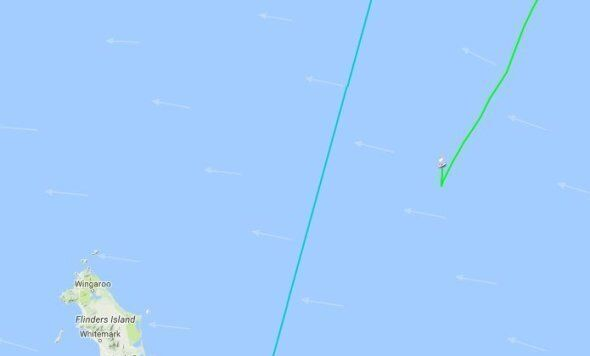 Wild Oats XI on the online race tracker, turning back