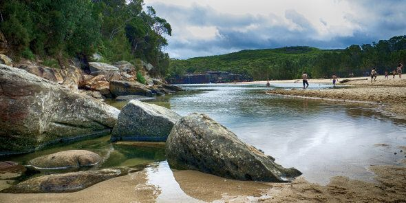 The lagoon at Wattamolla Beach is a popular spot for jump from high rocks into the