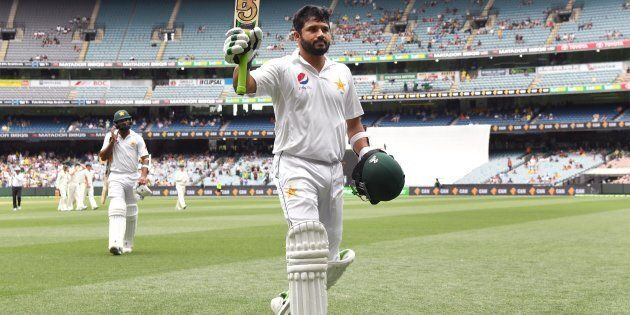 Pakistan batsman Azhar Ali walks off undefeated after scoring his double