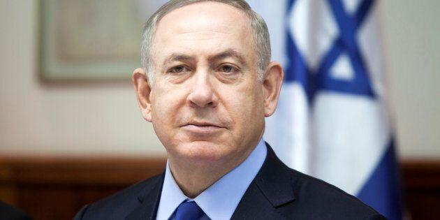 Israeli Prime Minister Benjamin Netanyahu attends the weekly cabinet meeting at his Jerusalem office