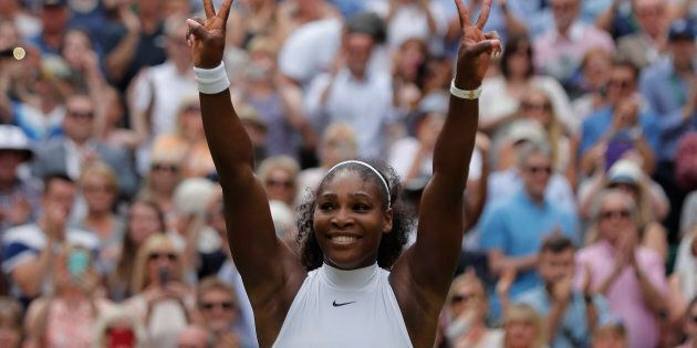 Serena Williams celebrates winning her women's singles final match against Germany's Angelique Kerber at Wimbledon. The tennis superstar announced her engagement Thursday to Reddit co-founder Alexis Ohanian.