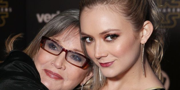 HOLLYWOOD, CA - DECEMBER 14:  Actresses Carrie Fisher (L) and Billie Lourd attend the Premiere of Walt Disney Pictures and Lucasfilm's 'Star Wars: The Force Awakens' on December 14, 2015 in Hollywood, California.  (Photo by Todd Williamson/Getty Images)