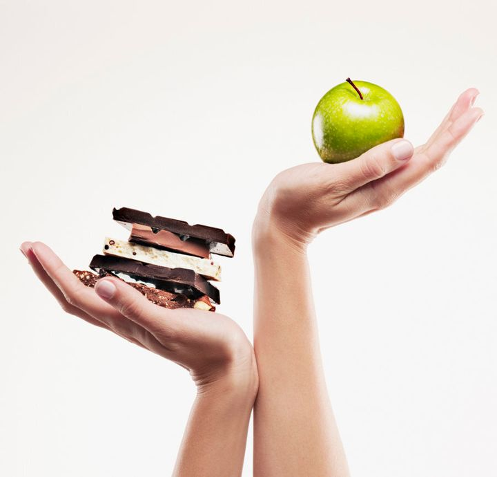 Day one snack: apple. Day seven snack: a block of chocolate.