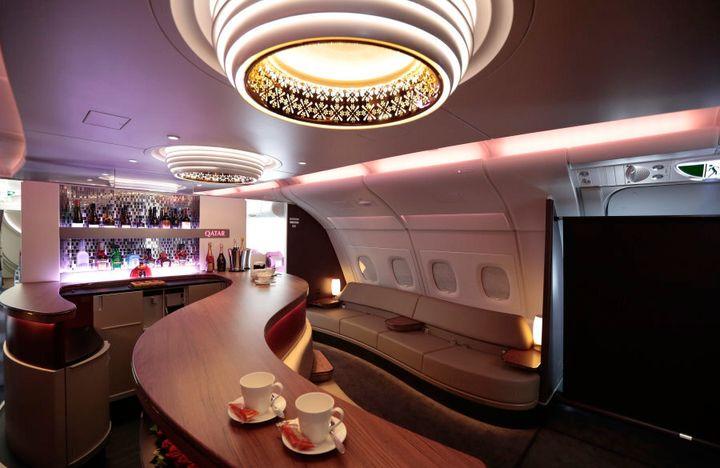 The First Class passenger bar inside an Airbus SAS A380 aircraft, operated by Qatar Airways.