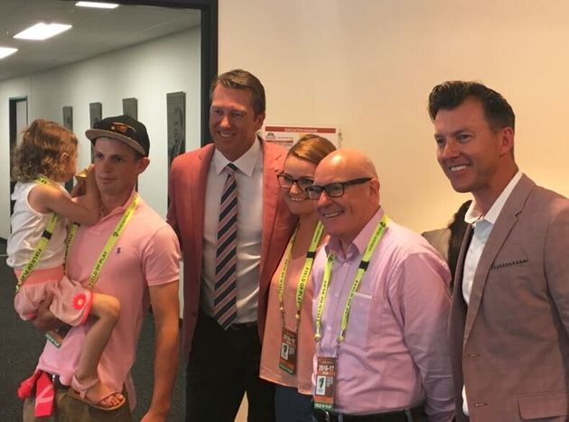 Brett Lee looked dashing in what we'd call a cinnamon pink blazer. Is that even a colour? Where's the...