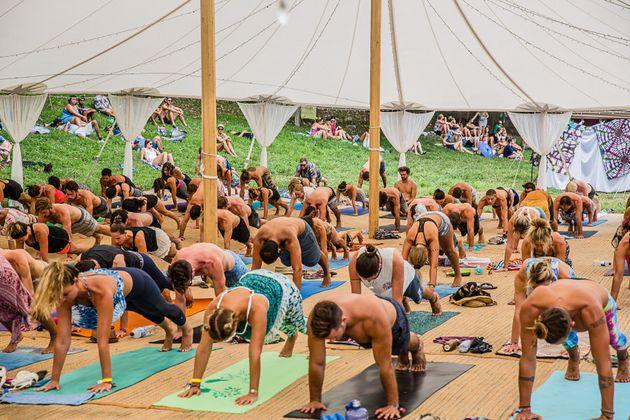 Morning yoga at Shambhala