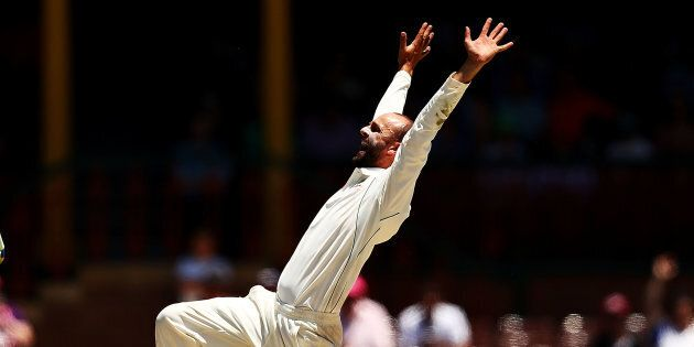 SYDNEY, AUSTRALIA - JANUARY 07: Nathan Lyon of Australia appeals for a wicket of during day five of the...