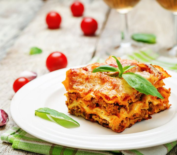 To make this dish healthier, sub the lasagna sheets for the wholemeal variety or vegetable slices.