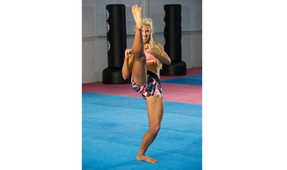 Hall's program is a mix of HIIT and simple martial arts movements.