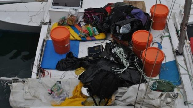 Alan Langdon's catamaran made the nearly 2,600km trip with a broken