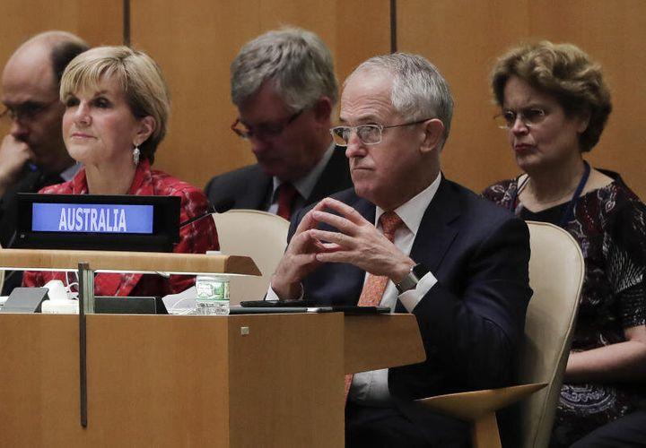 Foreign Minister Julie Bishop and Prime Minister Malcolm Turnbull listens during the 71st session of the United Nations General Assembly.