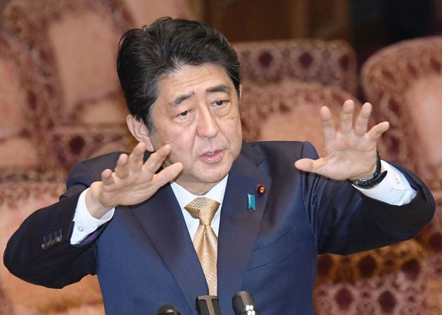 Prime Minister Shinzo Abe speaks during an upper house special panel session on the Trans-Pacific Partnership...