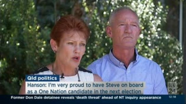 Pauline Hanson and Steve Dickson at the press conference on