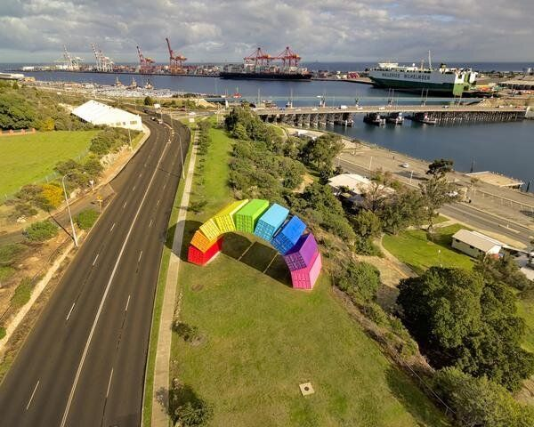 A rainbow of shipping containers in
