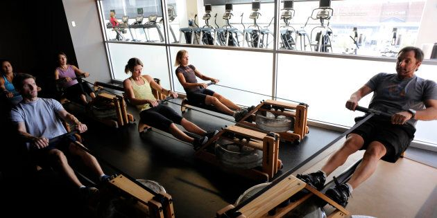 Rowing classes, like this one in Denver, Texas, have been popular in the U.S for a while