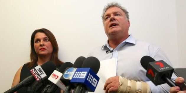 Senator Rod Culleton holds a press conference with his wife Ioanna Culleton at his office in