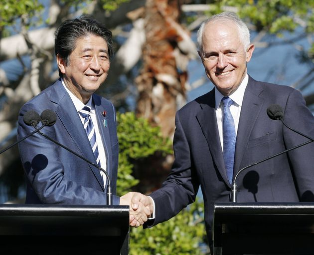 Abe (L) and Turnbull (R) said on the weekend their countries will continue to work in close coordination...
