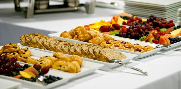 Everyone takes a snack for later from the breakfast buffet,