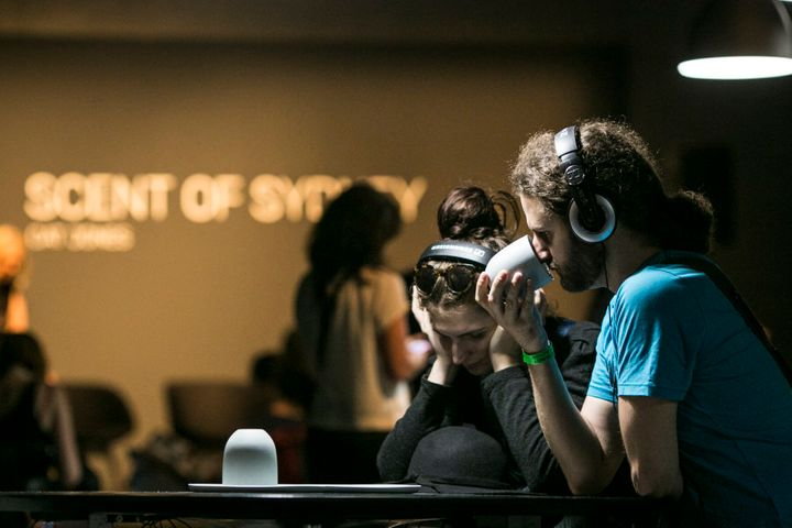 The immersive work invites visitors to think about what they're smelling.