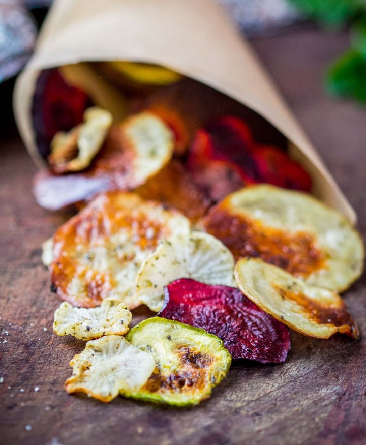 Season your homemade chips with dried herbs to lower the salt content.