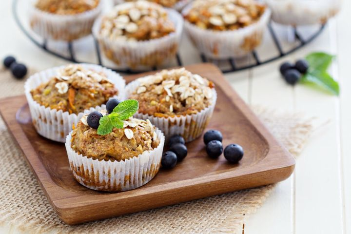 Banana carrot muffins with oats and berries are a winner.