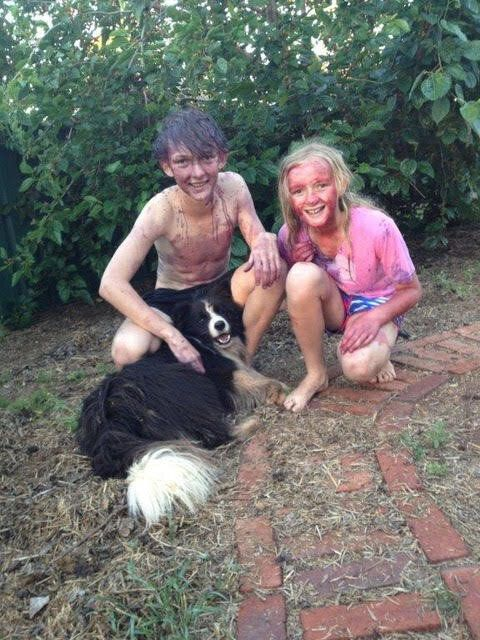The Nixon kids, covered in mulberries, with Jimmy who expects to be involved in every activity. Fomo, anyone?