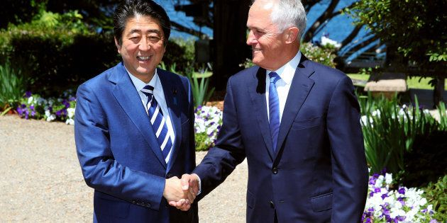 Japanese Prime Minister Shinzo Abe and Australian Prime Minister Malcom Turnbull met at Kirribilli House...