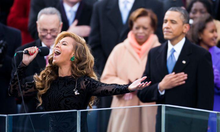 Beyonce sings the U.S. National Anthem.