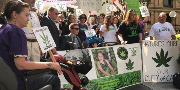 Protesters gather outside NSW parliament to call for better access to medicinal cannabis.